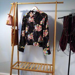 Black Silk Floral Buttondown Top Blouse Shirt XL